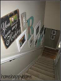 Basement Stairs Decorating White Ikea Ribba Frames Staircase Collage Photo Walls
