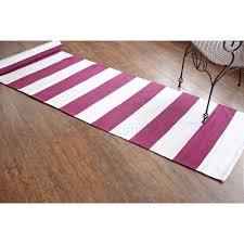 plum purple plain stripe cotton runner rugs flat weave revesable indian rug 100