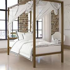 Details about Twin Size Dark Gold Metal Canopy Bed Frame Headboard Modern Bedroom Furniture