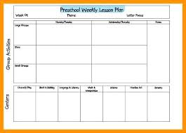 Weekly Lesson Plan For Preschool Plans Templates Toddlers Template ...