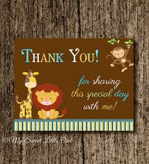 tarjeta de agradecimientos nota de agradecimiento animales jungla tarjeta de