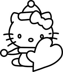 Hello Kitty Da Colorare Per Bambini Con Cartolina Di San Valentino