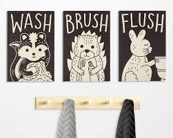 kids bathroom decor signs. Fine Decor Woodland Theme Kids Bathroom Decor Wash Brush Flush Wood Sign  Made In USA With Kids Bathroom Decor Signs I
