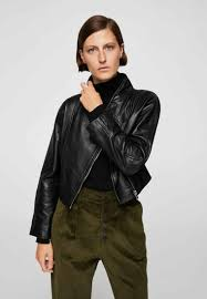 mango leather jacket black for women
