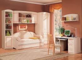 Calm Accent Wall Paint Color Of Teenage Bedroom With Daybed Under Wall  Cabinets Built In Tall Bookshelf And Wardrobe As Well As Wooden Computer  Desk Be ...
