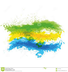 Yellow Blue Green Splash Of Green Yellow And Blue Paint On White Ba Stock