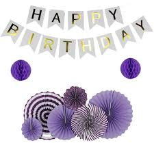 Purple Happy Birthday Banner Green Purple Light Blue Set Hanging Paper Fans For Party Decoration