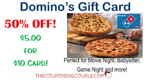 10 dominos pizza gift card for 5