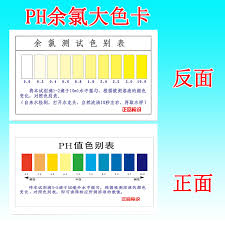 Water Test Color Chart Usd 4 45 Ph Reagent Large Color Card Residual Chlorine Test