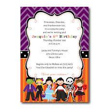 Costume Party Birthday Invitation Skeleton Frankenstein Princess Cat Ladybug Vampire