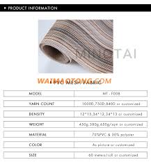 popular model heat resistant outdoor furniture beach chair placemat material pvc coated polyester mesh woven vinyl