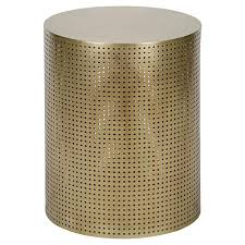 orelia modern gold brass metal mesh drum side table 20 5h kathy kuo home