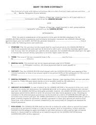 Rent To Own Contract Samples Free Printable Rent To Own Agreement Form xymetri 1
