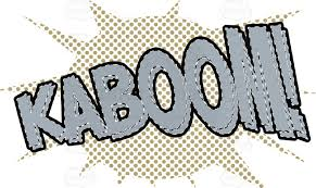 ic cartoon word kaboom in red with brown halftone dots in background batman book cartoon ic dots effects halftone newspaper print