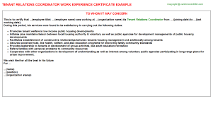 International Relations Specialist Work Experience Certificates