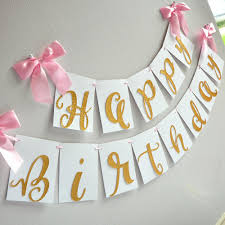 Banner Birthday Gold Happy Birthday Banner Handcrafted In 1 3 Business Days Pink