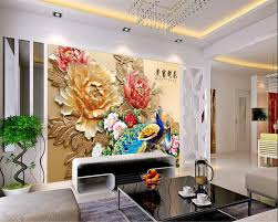 Beibehang Reliëf Bloem Pauw Foto Behang Moderne Thuis Custom 3d
