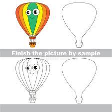 Balloon. Drawing Worksheet. Stock Vector - Illustration of vehicle ...