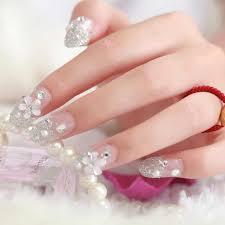 Flores y diseños inusuales, combinación brillante de tonos son relevantes para el arte de uñas francesas 2020. 4 Disenos 24 Uds Unas Falsas De Impresion Francesa Con Diamantes Puntas Decoracion Unas Diseno Unas Falsas Adhesivo Con Cola Envio Gratis Unas Postizas Aliexpress
