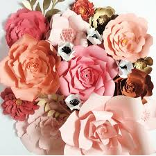 paper flowers by paperflora c peach and gold paper flowers for weddings events or