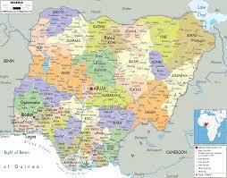 detailed political map of nigeria  ezilon maps