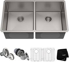 Kraus Khu10233 33 Inch Undermount 5050 Double Bowl Kitchen Sink