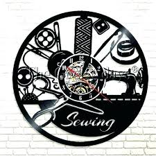 vinyl sewing machine seamstress room decor wall clock antique style with clocks mac sewing room clock machine project wall clocks
