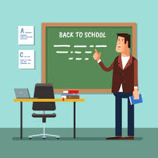 classroom table vector. vector illustration of a teacher in the classroom at blackboard explaining lesson or lecture table