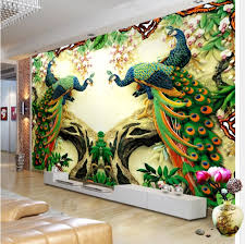 beautiful 3d peacock designs wall mural art digital printing for home wall decor