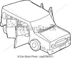 outline of vehicle with open doors csp27097571