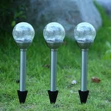 Crackle Glass Globe Solar Lights Patio Lawn Garden Twinkle Star Solar Pathway Lights