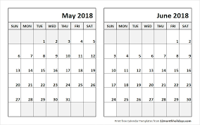 calendar for the month of may print may june 2018 calendar template 2 month calendar