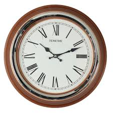 hometime plastic wall clock brown chrome bezel roman dial