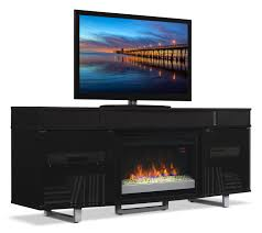 image of odesos 72 tv stand with glass ember firebox and soundbar black inside tv