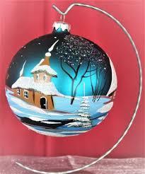 Exklusive Schöne Christbaumkugel Aus Glas In Türkis Mit Schöner Winterlandschaft 12 Cm Durchmesser