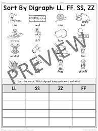Sort By Ending Digraph: FF, LL, SS, ZZ - Fun Classroom Printables