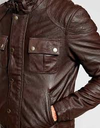 lyst asos leather jacket with chest pocket in brown for men mouton best leather vest brand