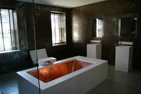 copper tub in a high end bathroom