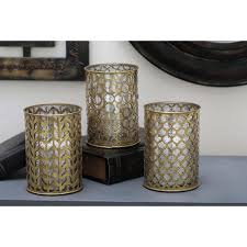 traditional gold finished mosaic glass candle holders set of 3