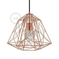 apollo xl bulb cage lampshade copper finished metal with e27 lamp holder