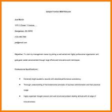 Basic Resume Format For Fresher Fresher Resume For Mba Word Free
