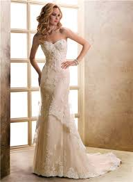 a line sweetheart champagne beaded lace wedding dress with buttons
