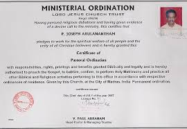 Ordination Certificate Template Certification Of Ordination Certificate Of