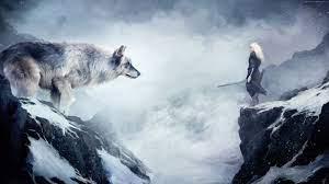 111534 #mountain, #girl, #snow, #wolf ...