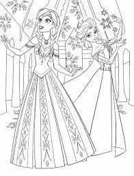 Reine Des Neiges Anna Et Elsa Avec Robes Magnifiques Coloriage La