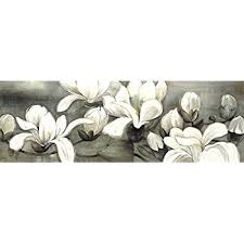 wieco art magnolia modern wrapped floral artwork giclee canvas prints white and grey flowers pictures on white floral canvas wall art with amazon visual art decor flowers canvas wall art decor black and