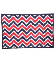 mix n match navy and red ikat zigzag door mat by bacati