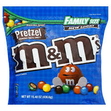 m m chocolate cans pretzel family size