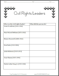 Civil Rights Chart Civil Rights Leaders Table Graph Chart Worksheet For Grade 2