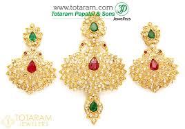 22k gold peacock uncut diamond pendant drop earrings set with ruby emerald